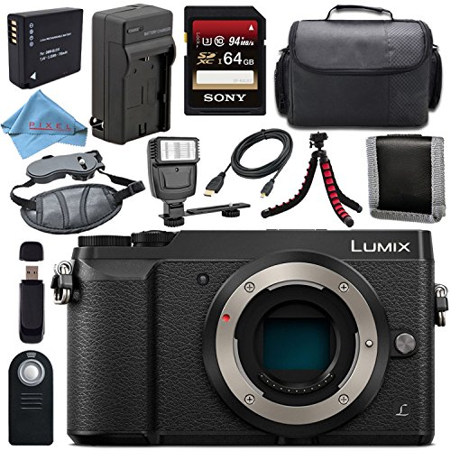 Panasonic Lumix DMC-GX85 DMCGX85 Digital Camera + DMW-BLG10 Lithium Ion Battery + External Rapid Charger + Sony 64GB SDXC Card + Universal Slave Flash Unit Bundle