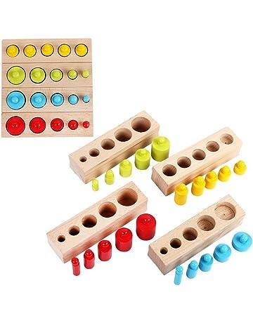 3d96737b94cb5 モンテッソーリ教育 円柱さし 4本セット カラフル 木製パズル 収納袋付き 感覚教育