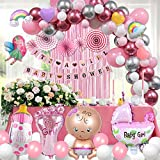 Baby Shower Party Decoration For Girl Pink Background Balloons Garland Arch Kit 154 Pcs Including Latex Balloons, Foil Balloons, Banner, Party Fan, Foil Curtain