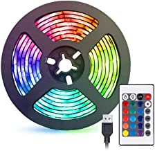 Gluckluz LED Light Strip 2M USB RGB Waterproof Decoration Lighting with Remote Control for Bedroom Kitchen Hotel Home TV B...