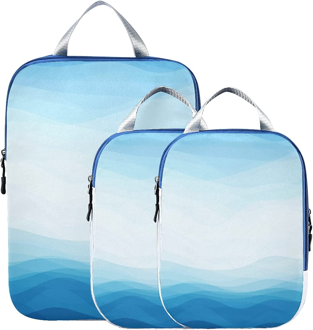 Travel Packing Super beauty product restock quality top Cubes Set Design It is very popular Organizer Waves Blue Bags