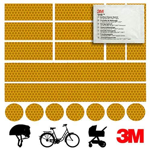 Mezanin Reflektoren-Aufkleber - Reflektor-Set für z. B. Fahrrad, Helm, Skateboard, Auto, Motorrad, Kinderroller - Verbessert Sichtbarkeit & Sicherheit - Hergestellt mit 3M Diamond Grade Tape (Orange)