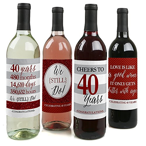 We Still Do - 40th Wedding Anniversary Decorations for Women and Men - Wine Bottle Label Stickers - Set of 4