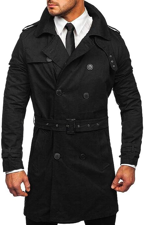 Cappotto doppiopetto bolf uomo impermeabile doppia fila collo alto autunnale con cintura DJ PLUS 0009