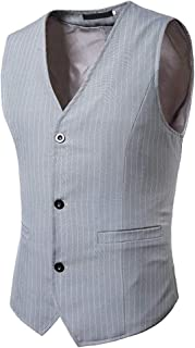 Men's Stripe Suit Vest V Stylish Vests Neck Modern Casual Vest Slim Fit Tuxedo Waistcoat Slim Fit Men's Suit Jacket