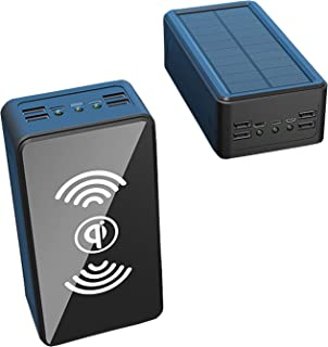 Solar Charger Qi Wireless Power Bank 50000Mah, Solar Portable Chargers with 3 Inputs & 4 USB Outputs, External Battery Cha...
