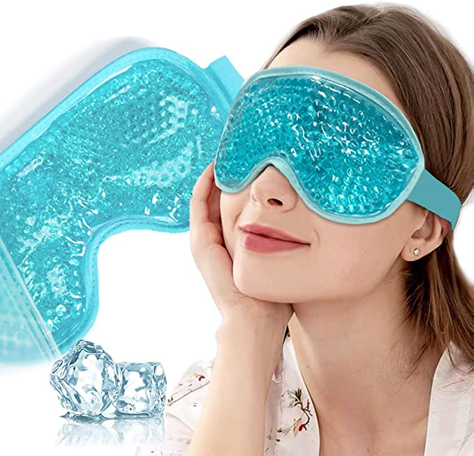 Cooling Eye Mask, Ice Gel Sleep Mask, Reusable Cold Frozen Eye Compress Ice pack with Plush Backing for Puffy Eyes, Dry Eyes, Headache, Puffiness, Allergies, Migraine, Stress Relief - Blue