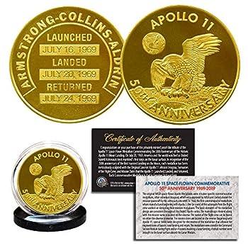 Apollo 11 50th Anniversary Commemorative NASA Robbins Medallion Tribute Coin clad in 24K Gold with Capsule