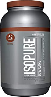 Isopure Low Carb Protein Powder, 100% Whey Protein Isolate, Keto Friendly, Flavor: Dutch Chocolate, 3 Pounds (Packaging May Vary)