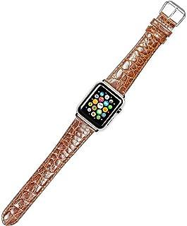 Debeer Replacement Watch Strap - Alligator Grain - Havana - Fits 38mm Apple Watch [Silver Adapters]
