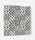 Impression Murale® - Fond de hotte, crédence de cuisine en Verre de synthèse avec fixation adhésive'Carreaux de ciments motif géométrique' L. 60 x H. 70 cm - Epaisseur 4 mm