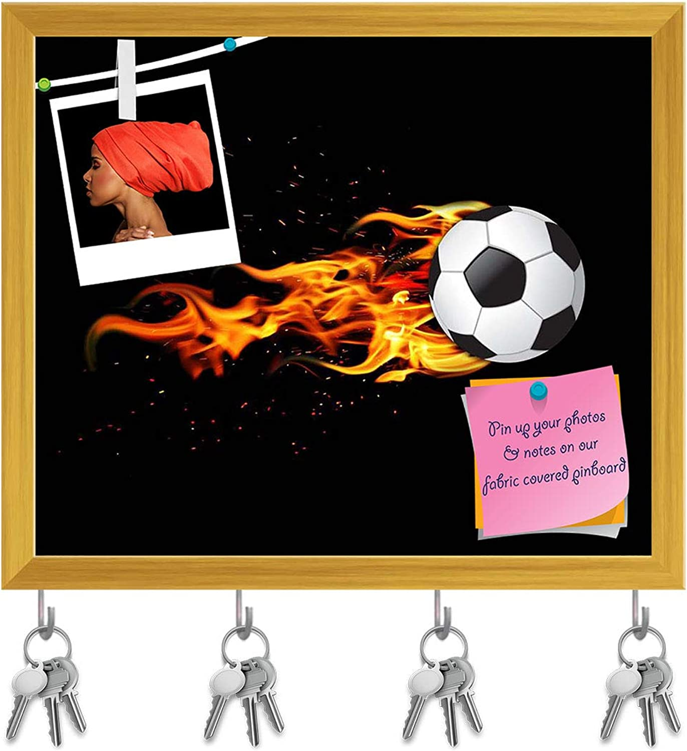 Artzfolio Soccer Ball On Fire Key Holder Hooks   Notice Pin Board   golden Frame 18.8 X 16Inch
