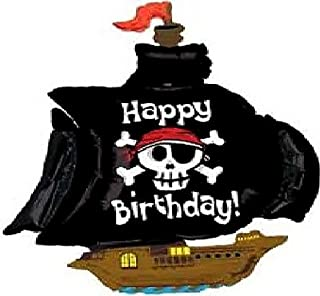 """Custom, Fun & Cool {XXL Massive Huge Size 46"""" Inches - 3.4 Feet} 1 Unit of Helium & Air Inflatable Mylar Aluminum Foil Balloon w/ Happy Birthday Pirate Ship Design [in Pastel Brown, Black, White&Blue]"""