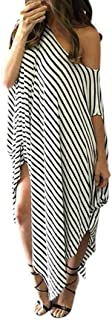 Women Loose Striped Short Sleeve Shirts Dress Summer Irregular Hem Baggy Long Tunic Dress