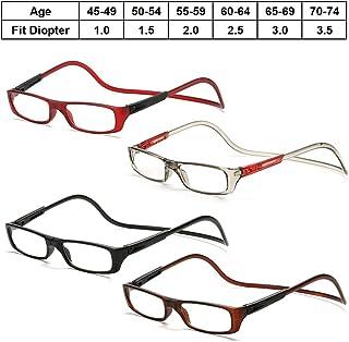 9739b3b253 Lunettes de lecture PC cadre ressort charnières clip magnétique sur pliable  réglable cou suspendu presbytie lunettes