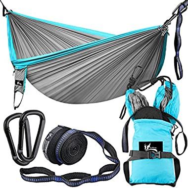 OUTDRSY Reinforced Camping Hammock Full Set 550lbs Capacity, 118  x 78  Double Size Tree Hammock, Compact 210T Nylon Parachute Hammock with Set of Widened Tree Straps & Carbon Steel Carabiners
