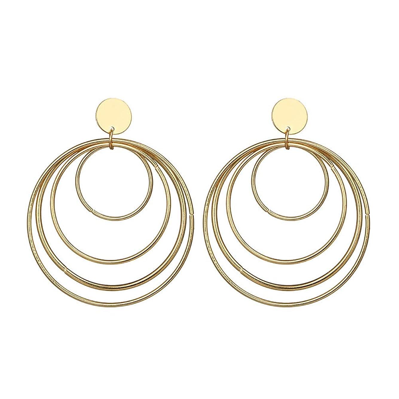 悪い推論時間とともにNicircle レトロな誇張されたスプリングイヤリング合金幾何学的サイズのサークルイヤリング スプリングイヤーリング Women Retro Exaggerated Spring Earrings Alloy Geometric Size Circle Earrings
