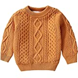 BINPAW Kids Long Sleeve Crew Neck Chunky Twist Warm Fleece Lined Knit Pullover Sweater for Toddler Baby, Little & Big Boys, Camel 2-3 Months = Tag 100