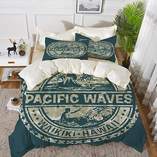 Modern,Pacific Waves Surf Camp and School Hawaii Logo Motif with Artsy Effects Design,K,Hypoallergenic Microfibre Duvet Cover Set 230 x 220cm with 2 Pillowcase 50 X 80cm