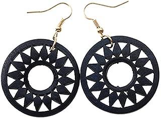 1Pair Fashion Indian Wooden Earrings For Women Ethnic Long Wood Gear Drop Earring Jewelry