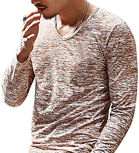 YKDDJJ Mode été Hommes T Chemises Sportswear Top Tees Hommes VêteHommests Manches Courtes Décontracté O Cou Coton Slim Fitness XL B café