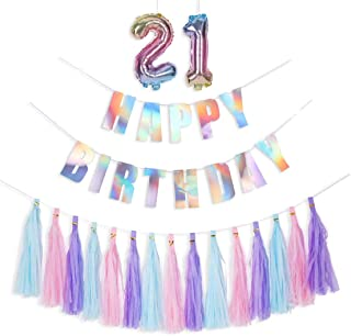 HOLLOSPORT 21st 12th Happy Birthday Party Decorations for Women and Girls,Including Iridescent Happy Birthday Banner,15pcs Tassel Garlands,2pcs Number Foil Balloons
