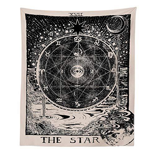 Gopumchy Schwarz-Weiß Mond Sonne Stern Astrologie Tapestry Psychedelic Tapisserie Wandtuch Hippie Deko von Wand Zimmer Indisch Wandbehang Picnic Throw, Wand Deko,Wohnheim Dekor Muster1 200 * 150cm