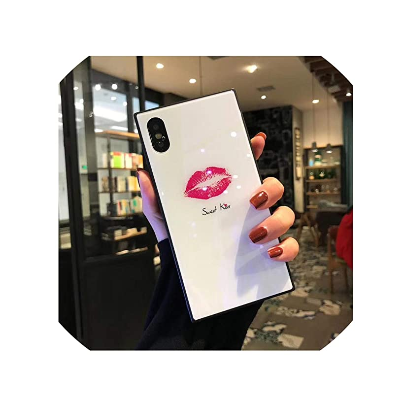 Case for iPhone Xr Xs Max Covers Luxury Square Blue Ray Tempered Glass Sexy Red Lips Phone Case for iPhone X 6 6S 7 8 Plus Cases,White Lip,for iPhone 6 6S
