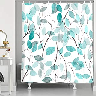 Teal Leaf Shower Curtain, Spring Modern Famhouse Style Watercolor Rustic Plant Blue Green Leaves for Nature Print Fabric S...