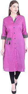 Cotton Kurta For Women Stylish Straight Kurti With 3/4th Sleeve Casual Wear Kurtas For Girls Mandarin Collar By Faunashaw