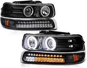 VIPMOTOZ Black CCFL Halo Ring Projector Headlight + LED Strip Front Bumper Parking Turn Signal Lamp Assembly Replacement For 1999-2002 Chevy Silverado 1500 2500 3500 & 2000-2006 Tahoe Suburban