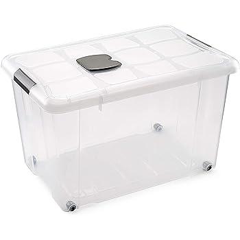 Metaltex - Caja de Ordenación con Ruedas 55 L (59 x 40 x 35 cm): Amazon.es: Hogar