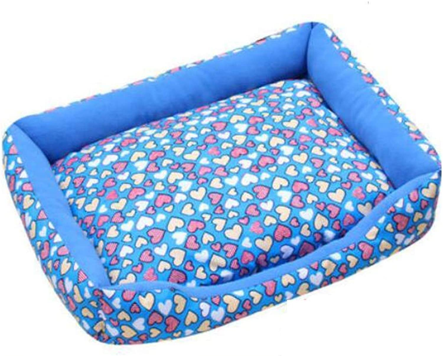 FH Kennel Removable and Washable Four Seasons Universal Cat Litter Small Dog Supplies Dog Teddy Mat (color   bluee, Size   S55X40X11cm)