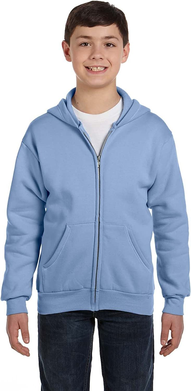 By Hanes Hanes Youth 78 Oz EcoSmart 50/50 Full-Zip Hood - Light Blue - S - (Style # P480 - Original Label)