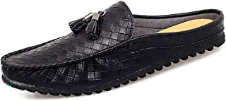 Xujw-shoes, Slip On Loafers Mens Tassel Shoes for Men Driving Loafers Boat Moccasins Slip On Style Microfiber Leather Half Dragged Weave Texture Classic Lightweight