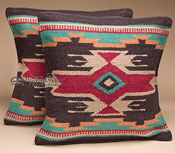 Southwestern Wool Throw Pillow Covers 18x18 PAIR 2 Hand Woven Western Pattern For Native American Style And Rustic Cabin Decor Eldorado