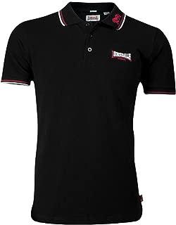 Lonsdale Men´s Slim-fit Tipped Pique Lion Polo Shirt 100% Cotton Black