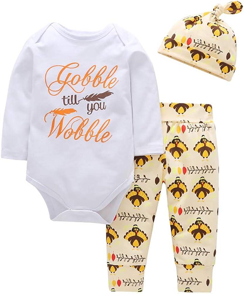 3PCS Unisex Newborn Baby Bodysuit Set, Cotton Long Sleeve Baby Boy Clothes Romper Jumpsuit + Pant + Hat Outfits Set