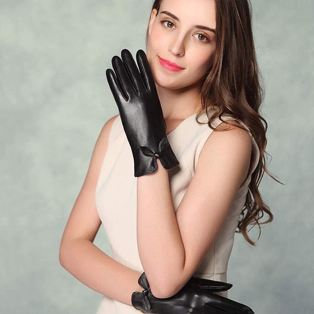 Men's gloves Women's Gloves Sheepskin Gloves Touchscreen Genuine Leather Leather Gloves Warm Handmade Curve Lambskin Winter Warm Fluff Woman Soft Fur Lining Driving Gloves Mittens Driving gloves
