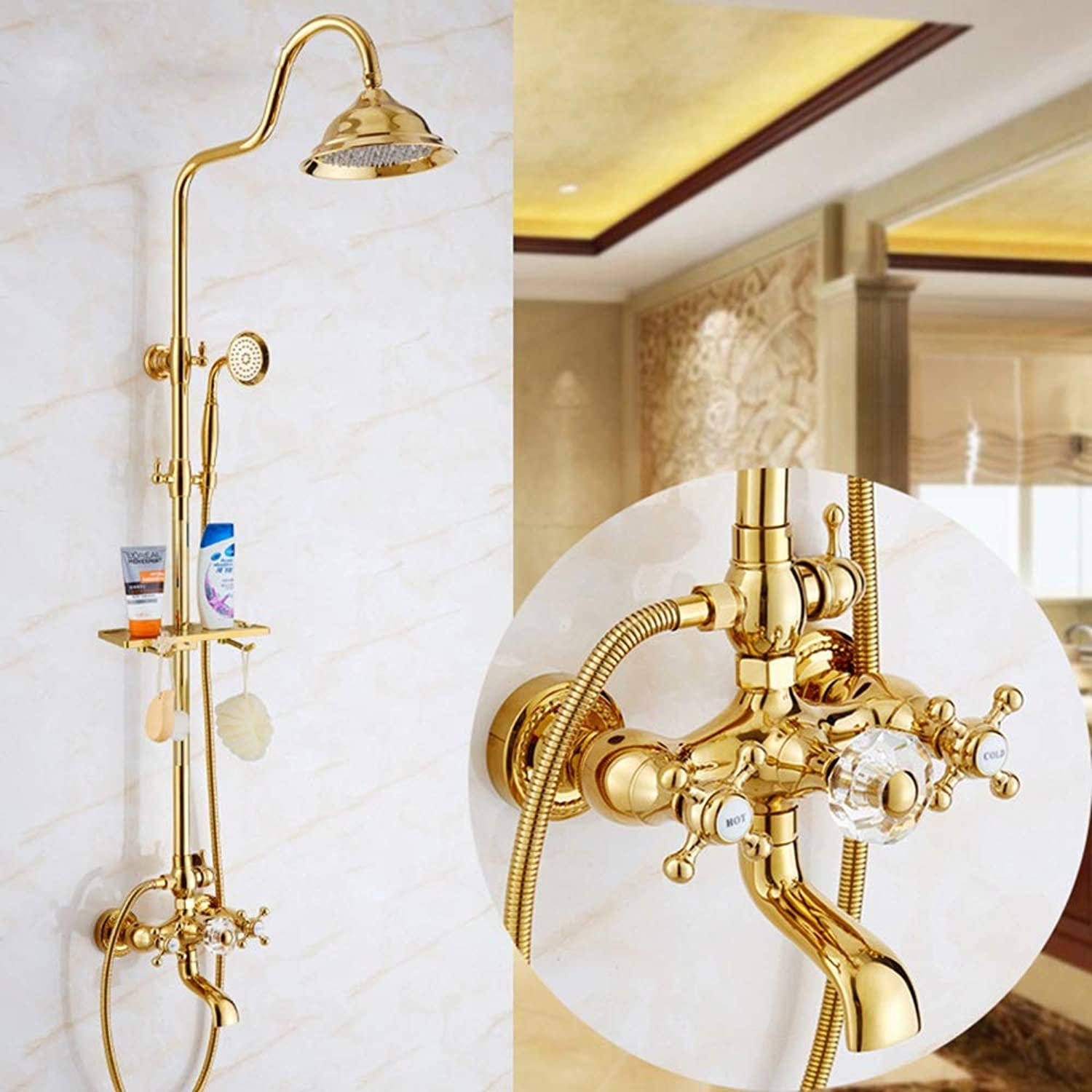HYH Shower Faucet Set Upscale European Copper Shower gold Seven-way Crystal Ball Shower Shower Head good life