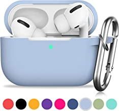 AirPods Pro Case, GMUDA Protective Silicone Cover with Keychain, Compatible with Apple AirPods Pro, Front LED Visible (Denim Blue)