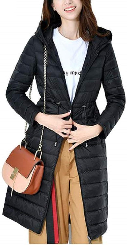 Aehoor Autumn Winter Down Jacket Thin Females Parka Hooded Medium Long Down 90%
