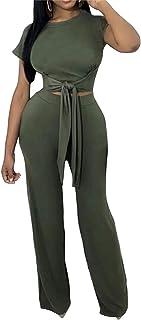 Jotebriyo Womens Loose Fit Batwing Sleeve Ruffle Wide Leg Rompers Jumpsuit