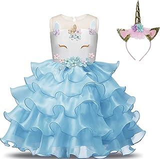 Unicorn Princess Dress Kit for Girls Christmas Halloween Party Costume, 3-4 Years, Blue