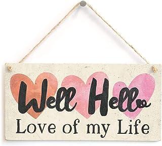 POWERMAZ Well Hello Love of My Life Wedding Valentine's Anniversary Day Gifts Wood..