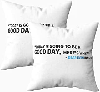 Musesh Christmas Pack of 2 Evan Hansen Cushions Case Throw Pillow Cover for Sofa Home Decorative Pillowslip Gift Ideas Household Pillowcase Zippered Pillow Covers 16x16Inch