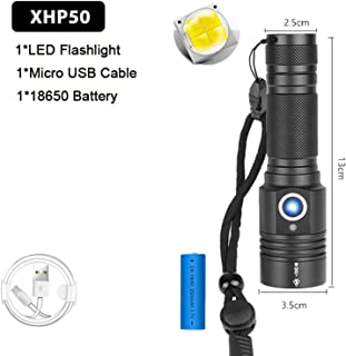 160000LM Most Powerful XHP90 Flashlight Brightest Zoom Torch XHP50 USB Rechargeable Lamp By 18650 26650 for Camping,Package F