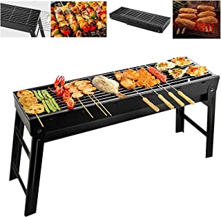 Barbecue Grill Charcoal Portable BBQ Stainless Steel Folding Grill Tabletop Smoker Easy to Carry for Outdoor Picnic Garden...