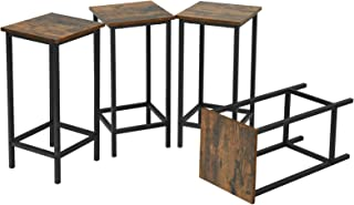 GOPLUS Lot de 4 Chaises de Bar Rustique de Cadre en Fer Noir, Tabourets de Bar Carré ave Repose-Pieds, Chaise de Bar Antid...
