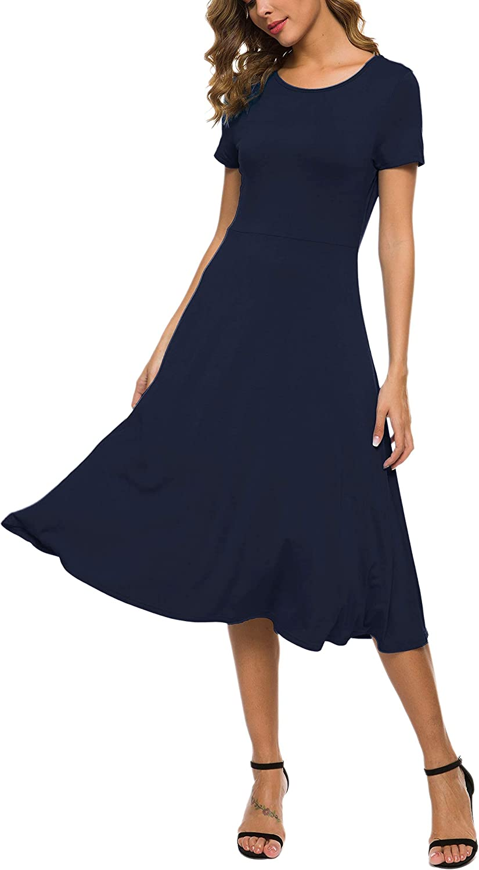 EXCHIC Women's Short Sleeve Round Neck Waisted Slim Summer Midi Dress